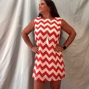 Everly red and white chevron dress